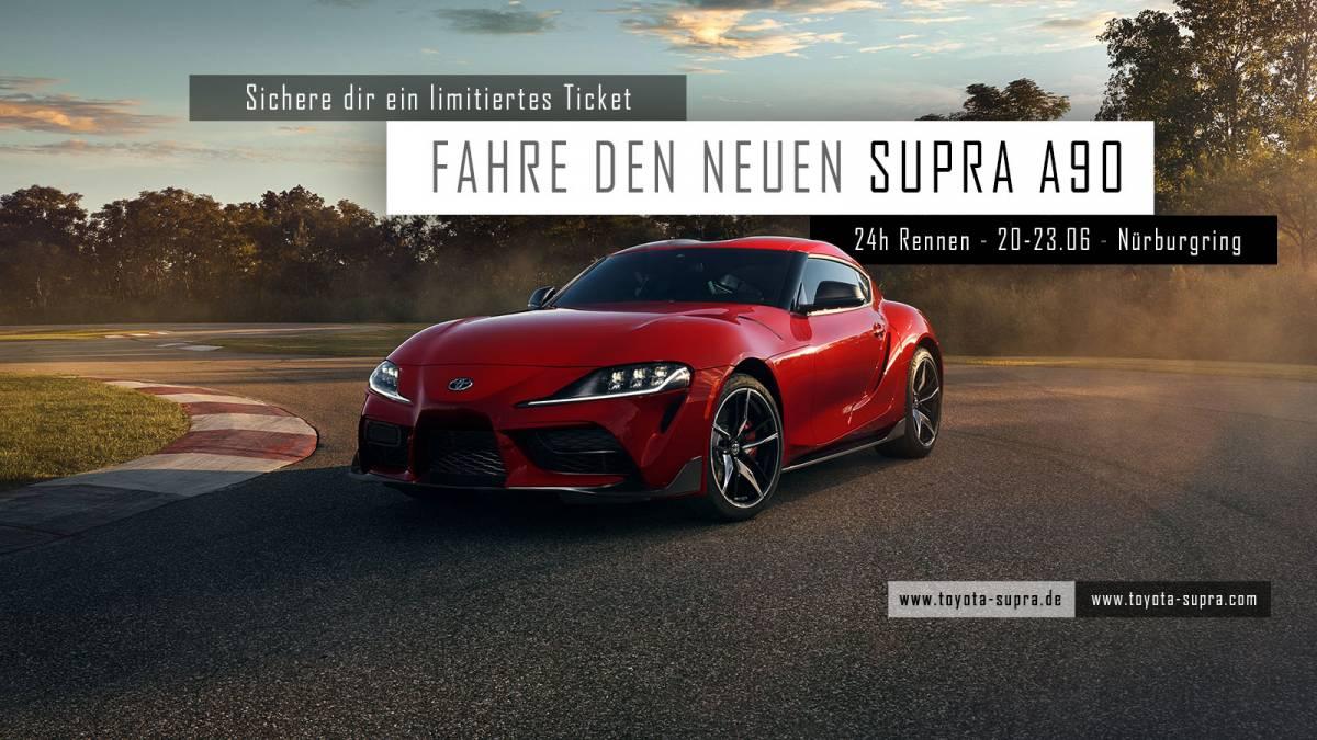 Fahre den neuen Supra A90 mit Toyota und der deutschen Supra Community exklusiv am 24h Rennen am Nürburgring...