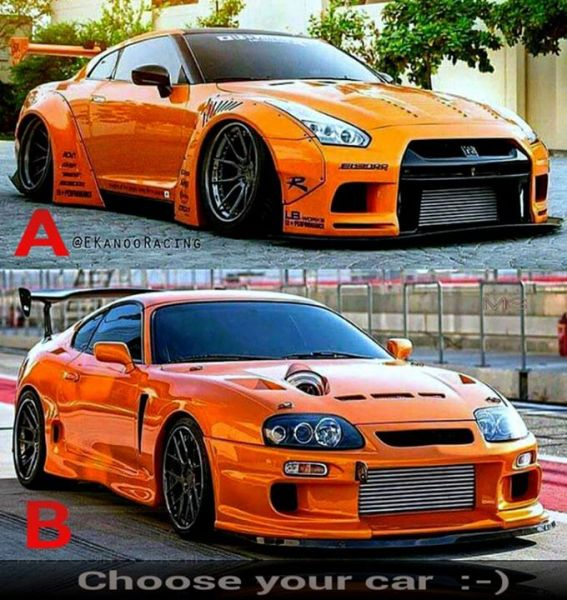 Choose your car <3 A or B ;-) #GTR :-) #Supra <3