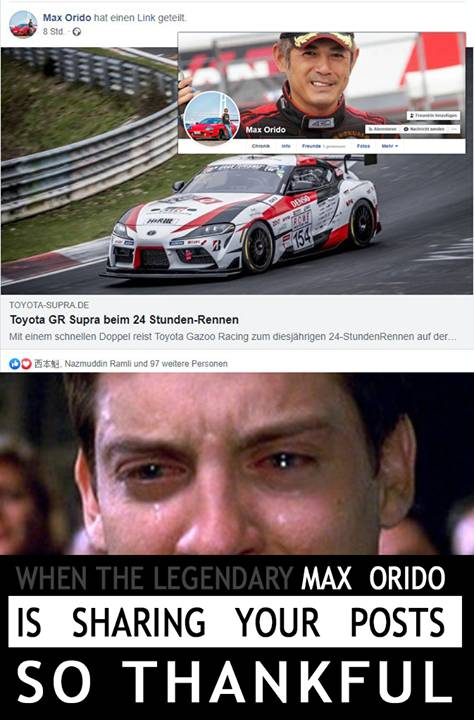 When the legendary Max Orido is sharing your posts Thank you! #Toyota #Supra #SupraA90